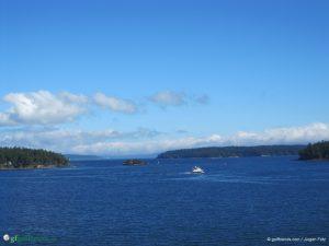 Ausblick vom Schiff während der Überfahrt nach Vancouver.
