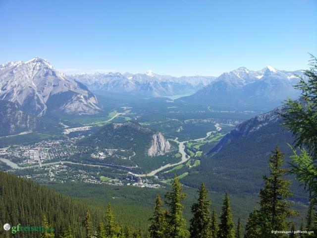 Die Rocky Mountains mit Banff im Tal.