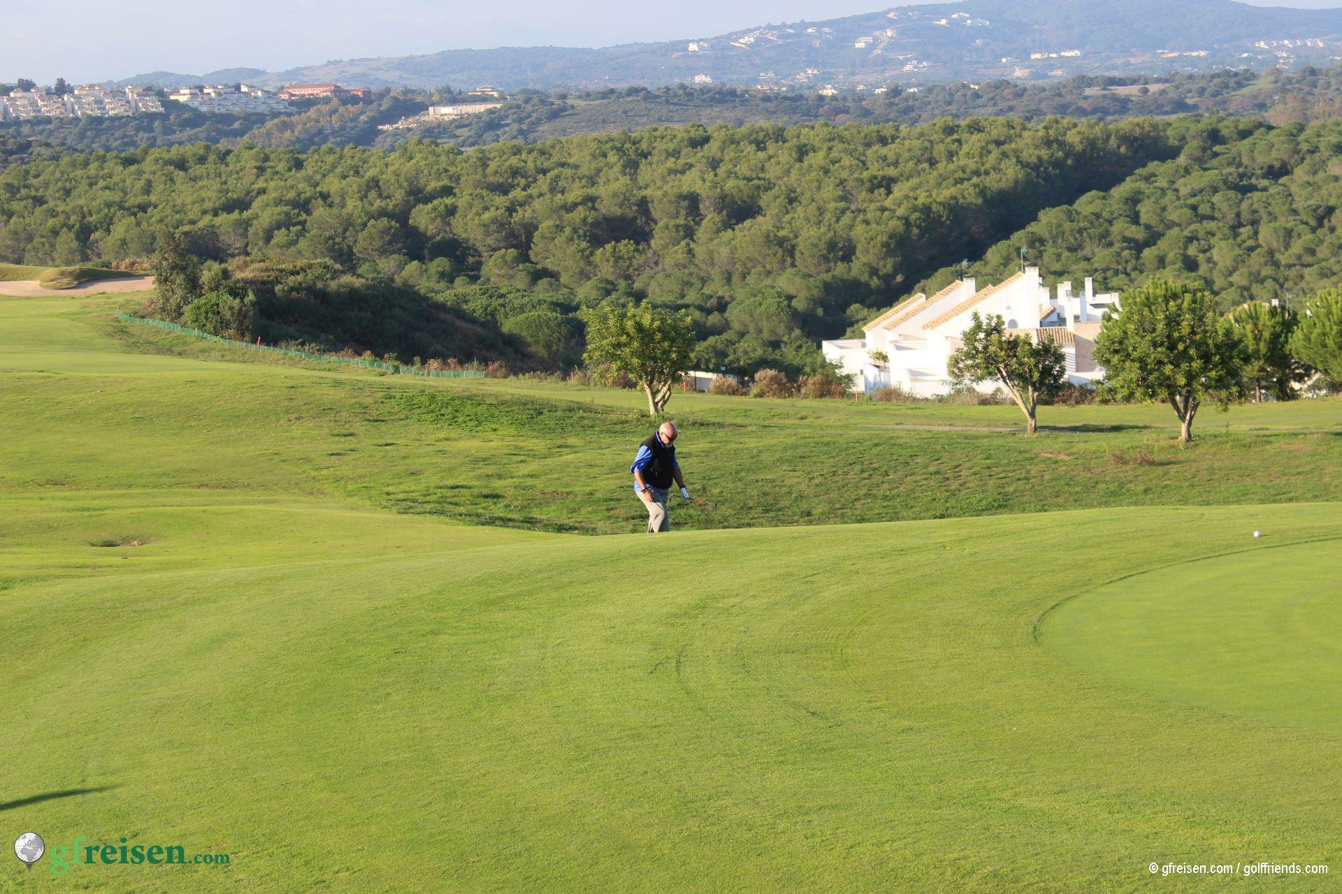 Sicht auf das Loch 18 des Heathland Courses
