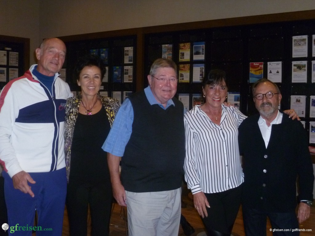 """Unsere verdienten """"golffriends"""" Ryder Cup-Sieger, das Team 3 (grün): Albrecht, Cornelia, Dieter, Anja und Wolfgang (fehlt: Stephan)"""