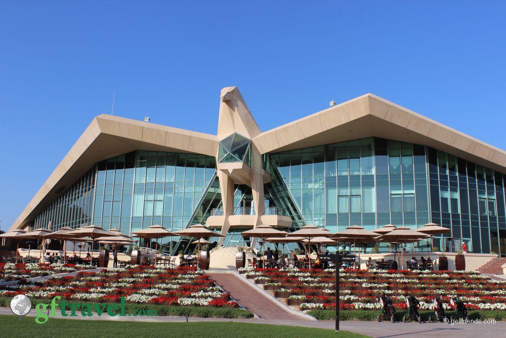 Das Clubhaus des GC Abu Dhabi, in Form eines Falken.