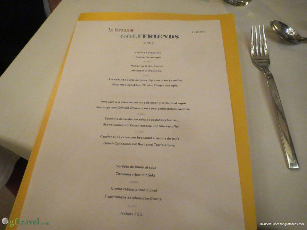 Abschluss-Dinner der golffriends Golf-Reise Mas Nou 16