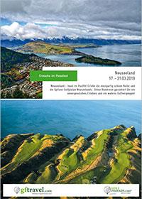 Prospekt-Cover Golf-Rundreise Neuseeland 2019